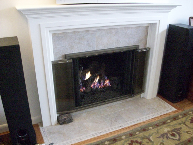 Upgraded To New Wall Custom Painted Mantel Stone Tile Hearth And Surround Clearview Champagne
